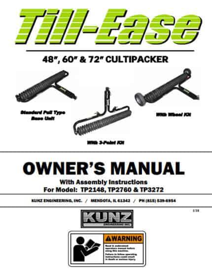 Till-Ease Cultipacker Owner's Manual Model TP2148, TP2760, TP3272