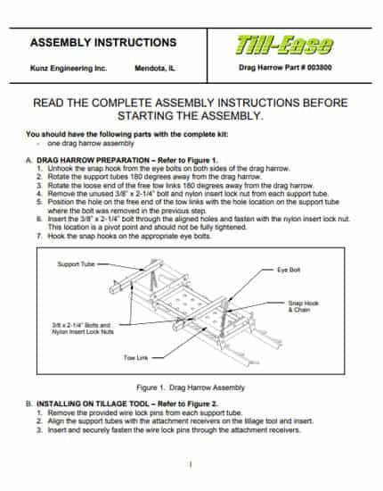 Drag Harrow Manual