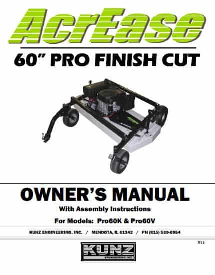 AcrEase 60'' Pro Finish Cut Owner's Manual Models: Pro60K & Pro60V