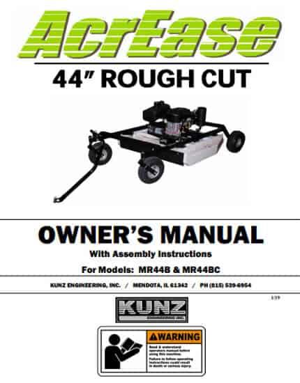 Rough Cut Mower Owner Manual MR44B MR44BC