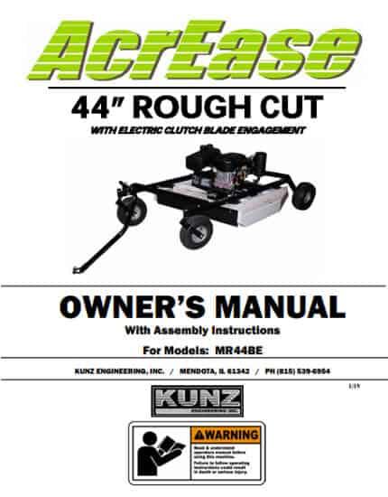 Rough Cut Mower Owner Manual MR44BE