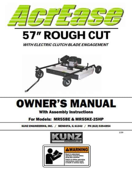 Rough Cut Mower Owner Manual for MR55KE MR55KE-25HP
