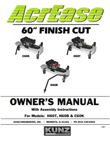 AcrEase 60'' Finish Cut Owner's Manual Models H60T H60B C60K