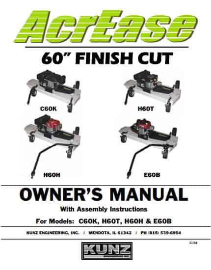 60'' Finish Cut Owner's Manual Models: C60K H60T H60H E60B